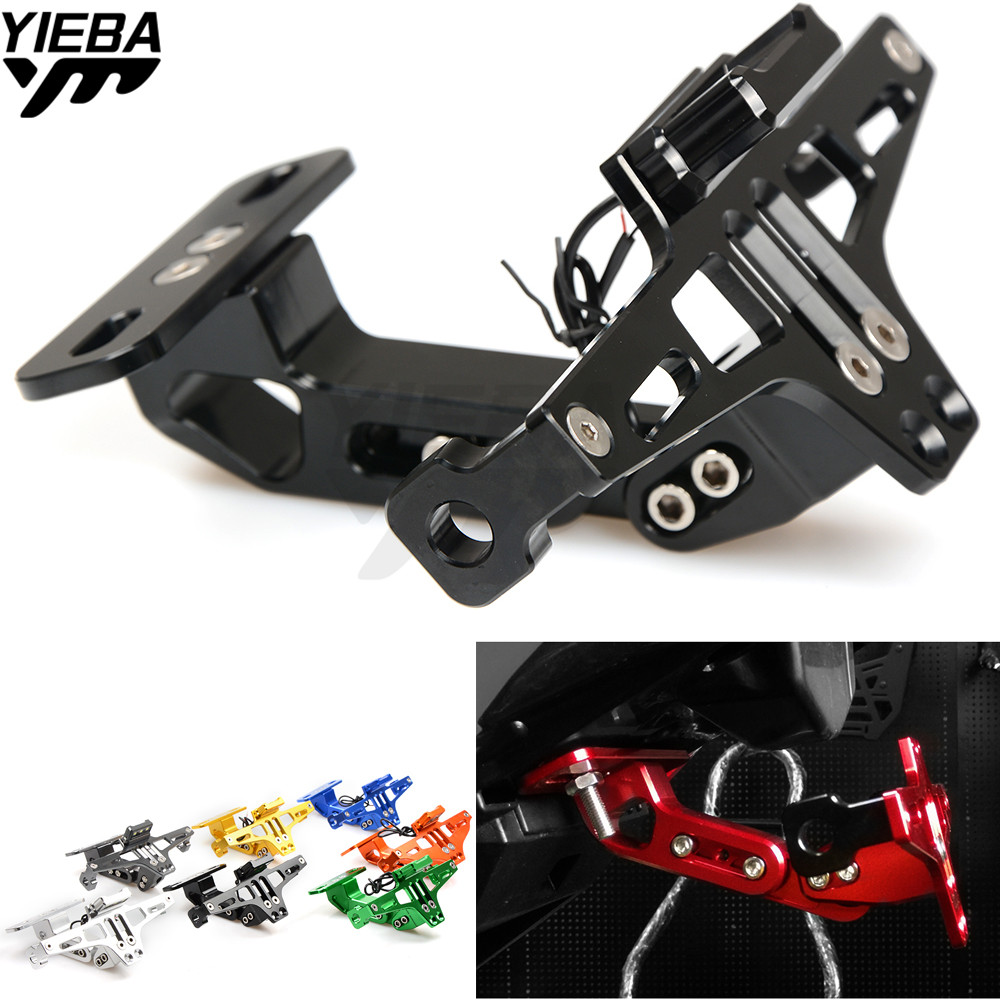 Motorcycle License Plate Bracket Licence Plate Holder Folding Mount FOR Kawasaki z800 z1000 Yamaha TMAX500 530 KTM DUKE 250 390