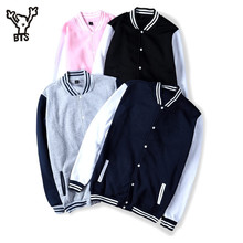 BTS 2017 Winter Baseball Jacket Men Sweatshirt College Sportswear Fleece Jackets Casual Slim Fit Jacket Mens solid veste homme(China)