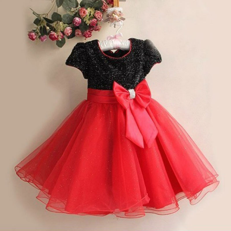 2017 Hot Sale Short Sleeve Girls Princess Dresses Kids Wedding Clothes Childrens Clothing Bow  Party Dress  Free Shipping<br><br>Aliexpress