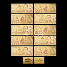 Wholesale Thailand Colorful 24K Gold Banknote 1000 Baht Colorful Gold Leaf with Certificate Card for Business Gift 10pcs/lot(China)