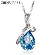 Fashion Jewelry 2 colors Long Crystal Heart Pendant Necklace Chain For Women Love Necklaces & Pendants Collares x 331(China)