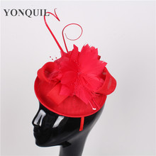 Party red fascinator hat feather flower adorn wedding fascinator base with ostrich quill headpiece ladies Occasion headdress