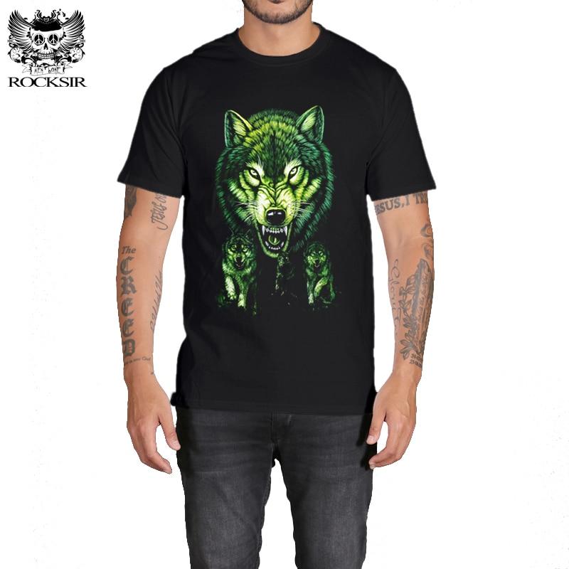 Rocksir 3d wolf t shirt mens Brand 3D Indians wolf Print t shirts Cotton wolves Men t-shirt Casual Man Tees Mens Tops 16