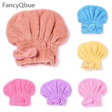 Microfiber Quick Drying Hair Towel Bowknot Bath Cap Strong Water Absorption Hair Dry Shower Bath Hats With Coral Velvet(China)