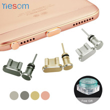 YIESOM Micro USB Chager Port Dust Plug + 3.5mm Earphone jack Plug Sim Card Set for Samsung Galaxy S7 Edge for Android Phone Plug(China)