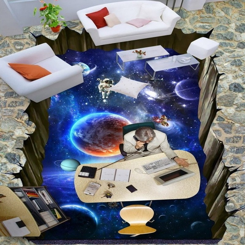 Free Shipping 3D Galaxy star high quality floor painting wallpaper living room custom stereo non-slip mural<br>