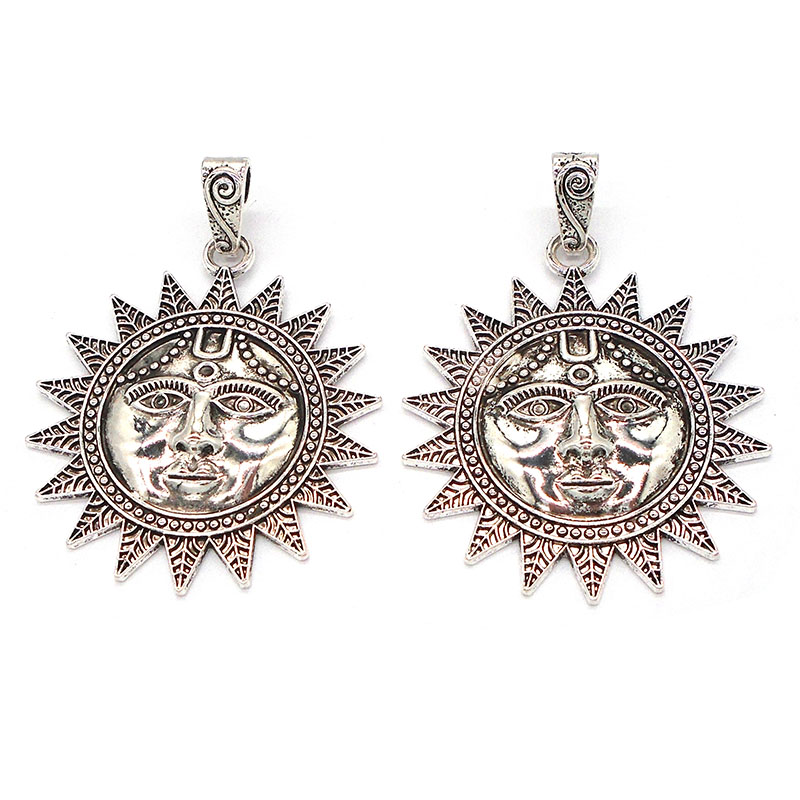 2 x Antique Silver Large Boho Flower Charms Pendants for Necklace Jewelry Making