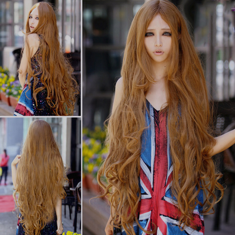 100cm Fashion Cosplay Wig +1pcs Hairnet Brown Long Wavy Wigs Synthetic Hair Halloween Perruque Anime Cosplay Wigs Manic Panic<br><br>Aliexpress