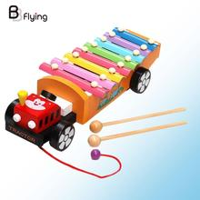 Free Shipping Drag Tractor Knocking Piano Music Instrument Toys Baby Wooden Learning