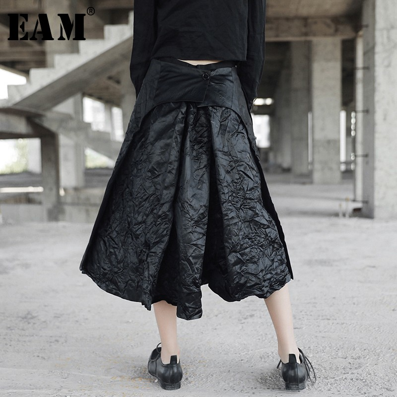 [EAM] 2019 New Spring  High Waist Black Back Pleated Split Joint Fold Loose Half-body Skirt Women Fashion Tide JL458