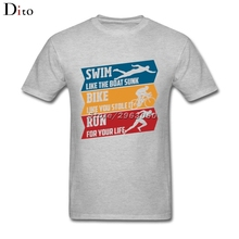 Swim Bike Run T Shirt Men Male Summer White Short Sleeve Custom Plus Size Couple Tshirt(China)