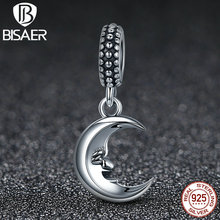925 Sterling Silver Mr Moon & STARS, Good Night Sweet Smile Dangle Charms Fit Original Pandora Bracelet Pendant Necklace HSC149(China)