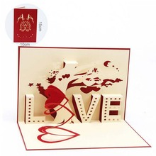 Valentines Day Greeting Cards 3D Pop Up Card LOVE Heart Tree Kirigami Laser Cut Handmade Paper Cut Folded Postcards(China)