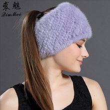 QiuMei Winter Knitted Real Fur Hats&Winter 2017 Scarves For Women New Warm Mink Fur Solid Hat Beanies Female Genuine Mink Fur(China)