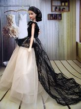Handmade Grace Lady Doll Dress Long Tail Evening Gown Clothes Lace Wedding Dress for Barbie Dolls Vestidos For 1/6 BJD Dolls