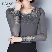 Buy FGLAC Women clothing Fashion Elegant Slim long sleeved Mesh tops Sexy Hollow Diamonds Lace tops Plus size women blouse shirt for $13.40 in AliExpress store
