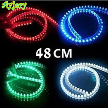 Hot! 10PCS PVC 48CM Strip Lights Flexible 48 LED Strip Lamps Blue Green Red White Yellow Pink RGB Color Car Decorate Lights(China)