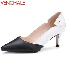 Buy VENCHALE mixed colors metal decoration all-match shallow convenient women shoes skid resistance genuine leather spring pumps for $38.76 in AliExpress store