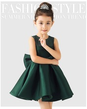 2016 Baby Girl Green/White/Red Satin Princess Dress with Big Bow Kids Wedding Dress Infants Bridesmaid Clothes Summer Vestidos