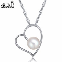 Effie Queen New Fashion Heart Shaped  Jewelry Elegant Imitation Pearl Necklace for Women Trendy Jewelry DN76