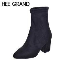 HEE GRAND 2017 New Winter Warm Solid Pumps Shoes Women Sexy Ankle Boots Suede Square Heels Boot Shoes Woman Size 35-39 XWX5951