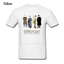 Trenchcoat Detective Agency T Shirt Man Leisure Summer Print Pure Cotton Male Clothes Round Neck T-shirt Plus Size Shirt men's(China)