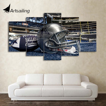 HD Printed 5 Piece Canvas Art Dallas Cowboys Helmet Painting Football Game Wall Pictures for Living Room Free Shipping CU-082(China)