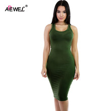 ADEWEL Summer Sleeveless Knitted Ladies Casual Dress Simple Bodycon Dress Women Tank Dresses Sexy Club Dress Party Vestidos(China)