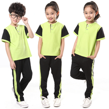 Summer School Uniform Short-sleeved Suit  Primary and Middle School Students Leisure Clothing Wholesale