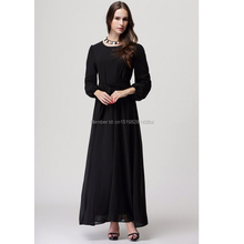 Muslim new long-sleeved large size women were thin with a belt bow waist not through the chiffon dress yellow blue black M L