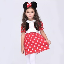 Minnie Costume Dress Girls Halloween Costume For Kids Role Play Party Skirt Cosplay Performance Dancewear Dress With Headwear