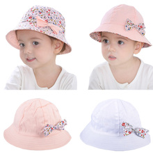 Summer Baby Girls Sun Hat Cotton Baby Hat Kids Child Cap Bowknot Flower Print Bucket Hat Double Sided Can Wear,Gorros Infantiles