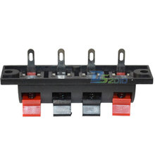 High QualityBlack Red Push Type Speaker Terminal Board 4 Positions Stereo Power Audio Strip