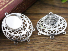10pcs 12mm Inner Size Silver Plated Brass Material Three loop Style Cabochon Base Cameo Setting Charms Pendant Tray (A1-27)
