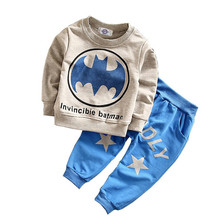 Kid's clothes 2017 New Winter and Autumn long sleeve t-shirt + casual long pants 2pcs Batman suit kids clothes(China)