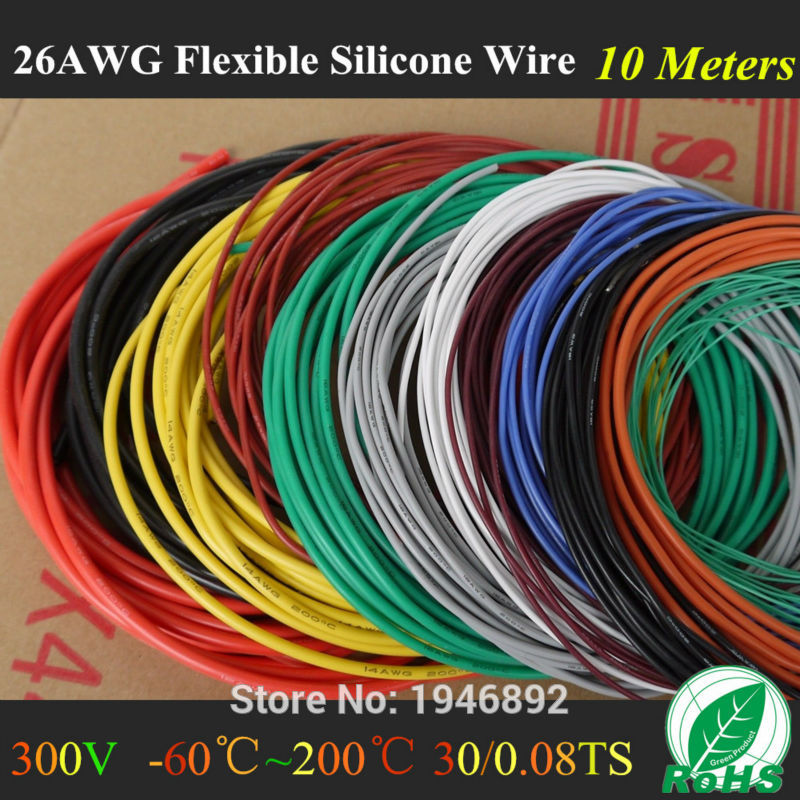 10M 32.8FT -26 AWG Flexible Silicone Wire RC Cable 26AWG 30/0.08TS Outer Diameter 1.5mm With 10 Colors to Select<br>