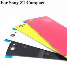 Buy Back Glass battery Cover Sony Xperia Z1 Compact Mini D5503 M51W Battery Back Door Cover Case housing logo for $5.28 in AliExpress store