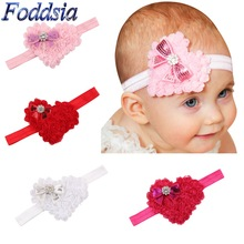 Foddsia 8pcs/lot New Fashion Girls Newborn Hairband Crytral Heart Headband Headwear Hair Band Accessories CH35
