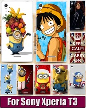 Cartoon TV Despicable Me Minions Piece Mobile Phone Back Case Capa Cover Skin Shell For Sony Xperia T3 m50w D5102 D5103 D5106