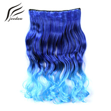 "jeedou Wavy Synthetic Hair Clip in Hair Extensions 5Clips 22"" 55cm 120g Blue Green Pink Gradient Omber Color Women's Hairpieces(China)"