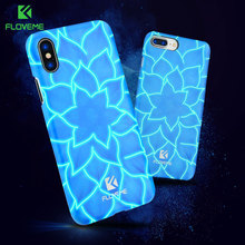 FLOVEME 3D Luminous Phone Case For iPhone X 10 8 7 Plus Case Luxury Blue Lotus Lily Flower Pattern PC Case For Iphone 7 8 Plus(China)
