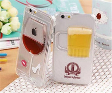 Red Lip Wine Glass Cup Cocktail Beer Liquid transparent Back Cover For Apple iPhone 6 6S Plus Cell Phone Cases