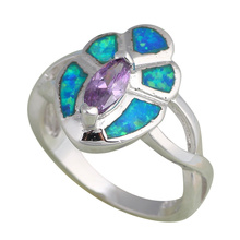 Wholesale Retail Trendy style Crystal Blue Fire Opal Silver Ring USA Sz #6.5 #7 #8 Fashion Jewelry OR498A
