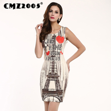 Hot Sale New Women's Apparel High-Quality Printing Sleeveless Round Neck Mini Fashion Summer Dress Personality Dresses 71182(China)
