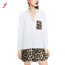 Buy Lady Women's shirt Leopard Print Irregular Shirt Tees Long Sleeve Shirts Tops Sexy V-Neck Clothing Casual Female Clothes 2017 for $9.70 in AliExpress store