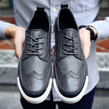 Fashion Brand Casual Genuine Leather Formal Man Flats Round Toe Wing Tip Derby Dress Blucher Low Top Black Gray Brown Tan