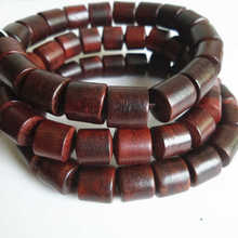 BRO894 Natural Red Sandalwood Prayer Malas Yoga Mediation Bracelets 10mm Barrel Beads