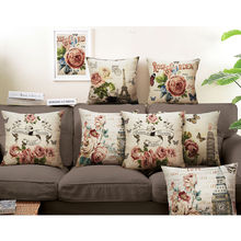 Buildings and flowers Linen cotton printed Cushion for home sofa chair coffee shop office Car tatami Decorative Pillows