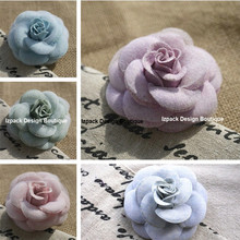 Handmade Romantic Pastel Camellia Flower Pin brooch with Gift box Celebrity love Fashionable Accessories