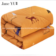 JaneYU 2017 New Design High Quality Deer Velvet Thicken Winter Quilt Free Shiping(China)
